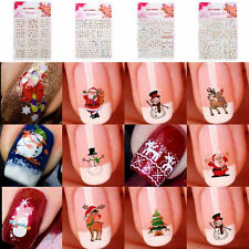 12Sheet 3D Nail Art Manicure Stickers Snowflakes & Snowmen Nail Decals Christmas