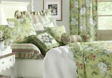 WHITE MAGNOLIA King QUILT : COLONIAL GREEN FLORAL DRAGONFLY COMFORTER
