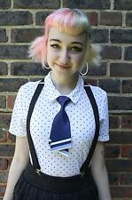 BLUE SATIN KAWAII JAPAN SCHOOL GIRL COSPLAY INDIE GRUNGE PRE-TIED BOW TIE