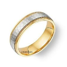 14K MENS MANS WEDDING BAND RING TWO TONE GOLD HAMMERED