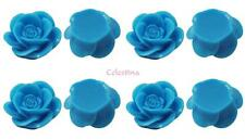 15 x Rose Resin Flat Back Cabochon Flowers 18mm x 8mm - Aqua Blue - CAB10