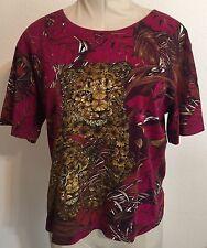 Salvatore Ferragamo Top Blouse Tropical Jaguar Motif Size Large 100% Cotton