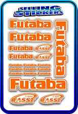 FUTABA SERVO RADIO RX TX 2.4G FLIGHT REMOTE CONTROL STICKERS FASST ORANGE WHITE