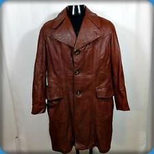 Canada Vtg Fight Club 70s Car Coat Leather Blazer JACKET Mens Size L 42 brown