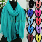 Women's Fashion Scarves Shiny Glitter Solid Color Ladies Long/Infinity Scarf New