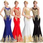 NEU Lang Gold Appliken Abendkleid Ballkleid Hochzeit Brautjungfernkleid gr:32-46