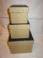 Nesting Stacking Brown Square Corrugated Cardboard 3 Storage Boxes & Journal