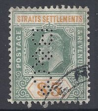 STRAITS SETTLEMENTS $5 DULL GREEN & BROWN ORANGE FINE USED PERFIN SG138 KEVII
