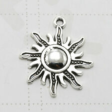 12pc Tibet Silver Sun Flowers Charm Pendant Necklace Earrings Jewelry Crafts DIY
