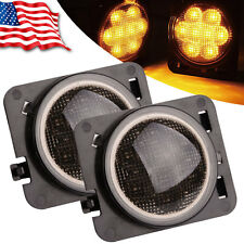 2x Smoked LED Front Fender Flare Turn Signal Side Marker Light For Jeep Wrangler