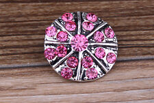 NEW Pink Rhinestone Drill Charm Chunk Snap Button fit for Noosa Bracelet DE68