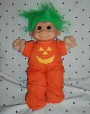 "Russ Pumpkin Troll Green Hair Firm Face 14"" Plush Soft Toy Stuffed Animal"