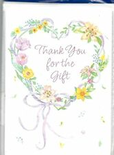 Thank You For the Gift Flower Floral Heart Bridal Shower Gift Note Card 2 Count