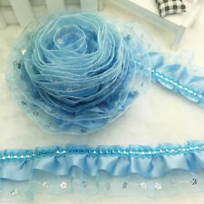 New 5yards 3-Layer Sky Blue organza Lace Gathered  Pleated sequined Trim NO32