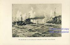 Seeschlacht vor Skagerrak Kunstdruck von 1936 Hans Bohrdt Marine Kriegsschiff