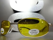 Mens or Women Day / Night RIDING SHOOTING DRIVING Yellow Lens SUN GLASSES Silver