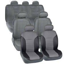 Van SUV Seat Covers 3 Row 2 Tone Color PU Leather Full Covers Gray Black