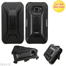 For Samsung GALAXY S6 Active Hybrid Armor Rubber Case Cover Clip Holster BLACK