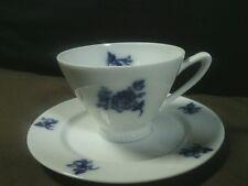 Antique Upsala Ekeby Karlskrona Blue Flow Floral Demitasse Tea Cup Set,Sweden