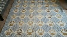 ANTIQUE BASKET QUILT. .EARLY BROWNS AND BLUES..AAFA