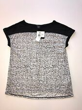 NWT Womens CALVIN KLEIN Black/White Short Roll Sleeve Shirt Blouse, Size 2XL XXL