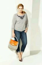 Halogen Sweater PETITE L 100% Cashmere NWT HEATHER GRAY EMBELLISHED