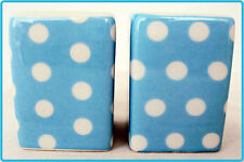 Baby/Light Blue Dots Salt & Pepper Set Porcelain Square Blue Cruet Set Decor UK
