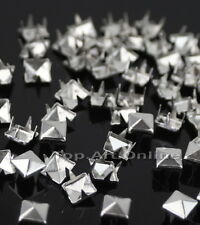200x Pyramid Studs Rivets Spots Spikes 7mm Punk Leathercraft DIY Silver