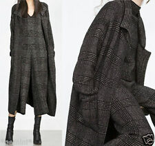 ZARA S KNITTED CHECKED COAT JACKET STRICKMANTEL MANTEL JACKE KARIERT 6771/139