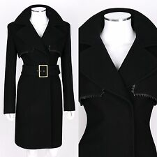 GIANNI VERSACE COUTURE BLACK WOOL BELTED COAT SZ 10 / 44