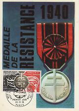 1 CARTE POSTALE 30è ANNIVERSAIRE LIBERATION 1944 1974 MEDAILLE DE LA RESISTANCE