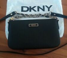 100% Genuine DKNY Donna Karan Clutch Evening Bag Wallet BLACK Leather
