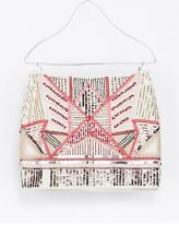 ZARA AZTEC SEQUINNED BEADED EMBELLISHED SKIRT SIZE XS