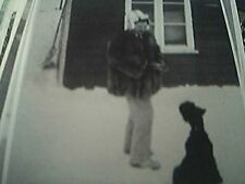 b/w photograph 3x5 inches winter lady fur coat and dog winter snow