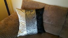"2 22"" Trendy New Crushed Velvet 3 Panel cushion covers, Black Silver Cream."