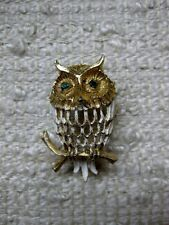 GORGEOUS VINTAGE HOBE PERCHED OWL PIN BROOCH GREEN EYES SIGNED
