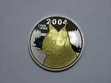 FINLAND SUOMI 2004 GILDED LYNX SPECIAL EDITION MEDALLION SILVER COIN GEM UNC