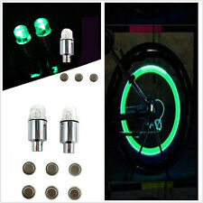 2pcs Green LED Motorcycle Bicycle Wheel Tire Valve Cap Neon Light For Kawasaki