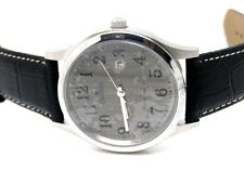 Croton Mens Stainless Steel Dress Quartz Calendar Leather Strap (CN307396BSGY)