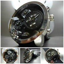 Mens OVERSIZE SPORT CASUAL MILITARY 3 Multi Time Zone UNIQUE FASHION WRIST WATCH