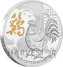 2017 LUNAR YEAR OF THE ROOSTER - 1 OZ. SILVER COIN - GILDED EDITION - ROCKY ZHAO