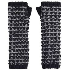 Ladies Girls Tuck Stitch Navy Blue & Grey Long Arm Warmers Fingerless Gloves