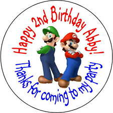24 Super Mario Brothers stickers Birthday Party 1.67 Inch Personalized