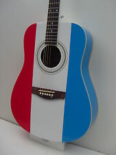 New Full Size 6 String Red White Blue Steel String Acoustic Guitar with Gig Bag