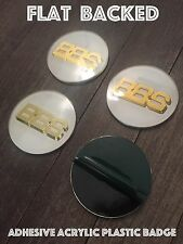 4 x BBS RS Style Acrylic Plastic Sticker 70mm 69mm Centre Caps White / Gold