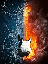 ART PRINT POSTER MUSIC INSTRUMENT DRAWING GUITAR FIRE WATER NOFL0052