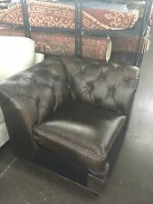 Pottery Barn Leather Chesterfield Pleated Tufted Sofa Sectional CORNER cocoa