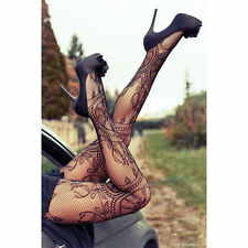 Women's Lady Sexy Black Fishnet Pattern Jacquard Stockings Pantyhose Tights