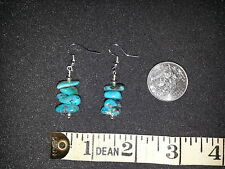 Turquoise Nuggets Sterling Silver 925 Dangle EARRINGS Pierced