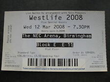 WESTLIFE  BIRMINGHAM  12/03/2008 TICKET UNUSED